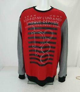 Sean John Marque Deposee Print Sweatshirt Red/Gray/Black Men's 3XLT