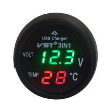 Auto Accendisigari Voltmetro Termometro LED Display USB Tre Cifre Accessori 12v