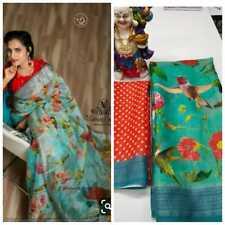 New Indian Designer Printed Floral Saree Sari Linen Fancy Party Wear Saree SL