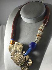 Ancient African Trade Red Jasper & Spun Glass Beads Brass Handmade Necklace