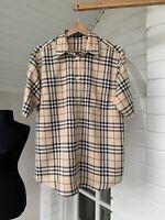 Women's Burberry London Beige Check Short Sleeve Shirt Size US12 UK16