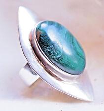 Lang Malachit Silberring 55 56 Silber Ring Handarbeit Grün Ellipse Modern Auge