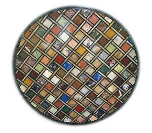 "32"" Green Marble Table Top Inlay Handmade Multi Stone Art Precious Decorate B653"