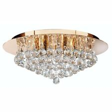 Searchlight Lighting 3406-6GO Hanna 6 Light Flush Ceiling Crystal Light