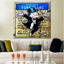 Alec Monopoly Banksy Oil Painting on Canvas street art 21 Park Place 28x28""