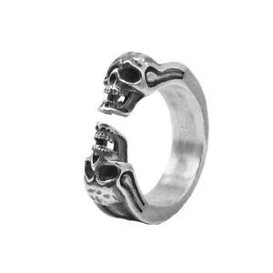 S925 Silver Twin Skull Skeleton Ring   Alexander McQueen Style Ring for Unisex