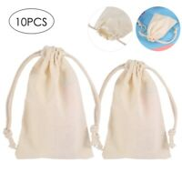 10Pcs Jewelry Pouches Gift Bags Reusable Drawstring Cotton Bag Wedding Favor New