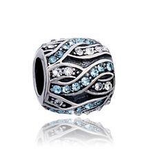 MATERIA Zirkonia Beads Kugel 925 Silber weiß blau antik für Beads Armband