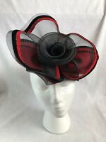 Vintage Deborah of New York Ladies Red Black Church Hat 100% Wool Made in USA