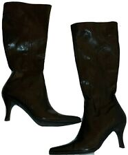 """Etienne Aigner Sz 7.5 Brown Faux Leather Knee High Stiletto Womens Boots 3"""" Heel"""