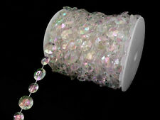 LARGE WEDDING ACRYLIC CRYSTAL GARLAND BEAD GEM IRIDESCENT 30 FT