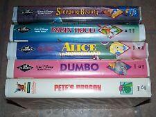 Vintage Disney VHS lot: Robin Hood, Dumbo, Sleeping Beauty. Pete's Dragon. Alice