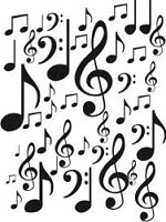SET OF MUSIC NOTES 1 SHEET CAR DECAL STICKER