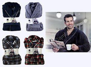 Majestic Mens Soft Plush Fleece Dressing Gown Robe RRP £75 Blue Grey Red Plaid