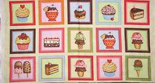 Sweet Treats Cupcake Cake Ice Cream Kitchen Snack Food Block Cotton Fabric PANEL