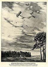 1917 * Fliegerangriff auf feindlichen Fesselballon / Fallschirmabsprung * WW 1