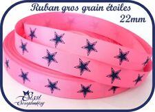 RUBAN GROS GRAIN ROSE FUCHSIA BLEU ÉTOILE COUTURE SCRAPBOOKING NAISSANCE 22mm