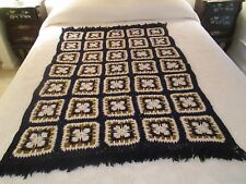 Vintage Navy GRANNY SQUARE Handmade Crochet Afghan Throw  Blanket  38 by 52""