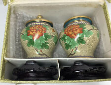 Vintage Chinese Cloisonne Vase Set With Stands