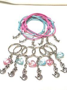 Mermaid Party Bag Fillers Friendship Bracelets & Keyrings X 12 Pieces FREEPOST