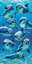 Mod Squad Cool Sunglasses Dolphins Porpoise Pool Bath Beach Souvenir Towel