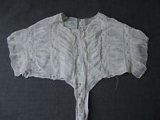 ANTIQUE VICTORIAN LACE & PLEATED FABRIC BLOUSE DRESS COLLAR TOP FOR REPURPOSE