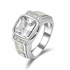 White Sapphire Engagement Fashion Ringss Halo Nobby Size 9 Mens Gold Filled