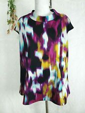 Womens Top Size 1X Sleeveless vibrant watercolor fit and flare stretch blouse