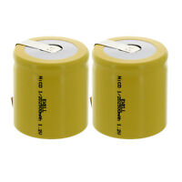 2x 1/2D Size 1.2V  Rechargeable Batteries w/Tabs For Solar Remotes Key Pads
