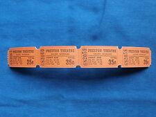 Vintage 35 Cent Preston Theatre Tickets (Strip of 4) Drive-In Movie/Cinema - MO