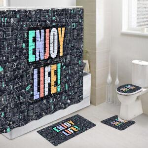 Enjoy Life Shower Curtain Toilet Cover Rug Mat Contour Rug Set