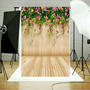 Floral Wall Wooden Floor Photography Backdrop Photo Studio Background Props