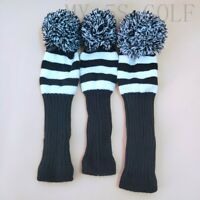 3pcs/set Golf Knit Cover Pom Pom Sock Covers Driver FW Black&White for Titleist
