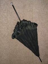 Antique Hallmarked 1900 Silver Topped Ladies Floral Laced Black Mourning Parasol