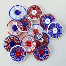 RachelArt Glass Disc Beads Lampwork Blue Red White Handmade Spiral