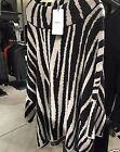 Rare! All size! NWT ZARA ZEBRA JACQUARD PONCHO Kimono CAPE SWEATER R.6873/128