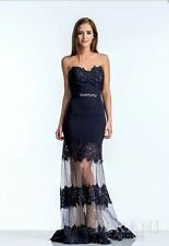 TERANI COUTURE Strapless Gown Navy Blue Size 12