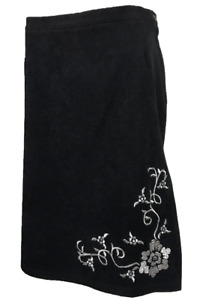 WESTCO   Vintage   2 Sided Split Skirt   Silver Floral Embroidery   Size 12