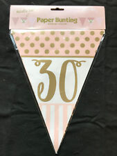 30th Birthday Pennant Flag Banner Pink & Gold Party Decorations Age 30 Bunting