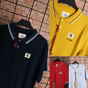 Kent & Curwen Mens Designer Rose Chest Patch Polo Shirt T-Shirt T David Beckham