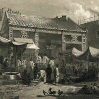 Canton China Fish market street scene 1856 Perry Expedition old litho view print