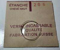 Verre de montre suisse bombé plexi diamètre 206 Watch crystal vintage *NOS*