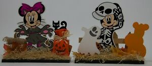 "Disney Halloween 7"" Mickey & Minnie Mouse Skeleton Werewolf Wood Table Top Signs"
