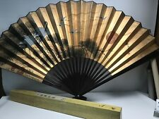 """Vintage NIB Large 36"""" Long Chinese Hand-Painted Gold Folding Wall Fan"""