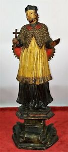 SAINT VINCENT OF PAUL. CARVED AND POLYCHROME WOOD. SPAIN. XVIII-XIX CENTURY