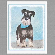 6 Schnauzer Miniature Standard Dog Blank Art Note Greeting Cards