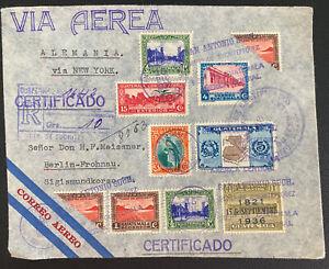 1936 San Antonio Guatemala Pan American Airmail Cover To Berlin Germany