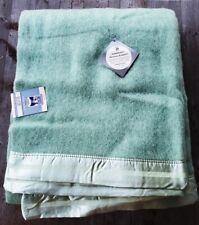 Vintage Kenwood Wool Products Blanket 90 x 72 Mint Green - New w/Original Tags