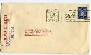 AUSTRALIA WW II CENSORED COVER #S.74, SYDNEY 15 NOV 1941 TO USA          (D725)