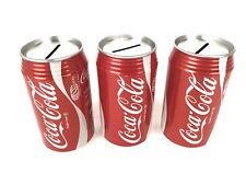Coca-Cola  Coke Tin Can Piggy, Coin, Money Bank Red 12 Oz Can Rep. Set Of 3
